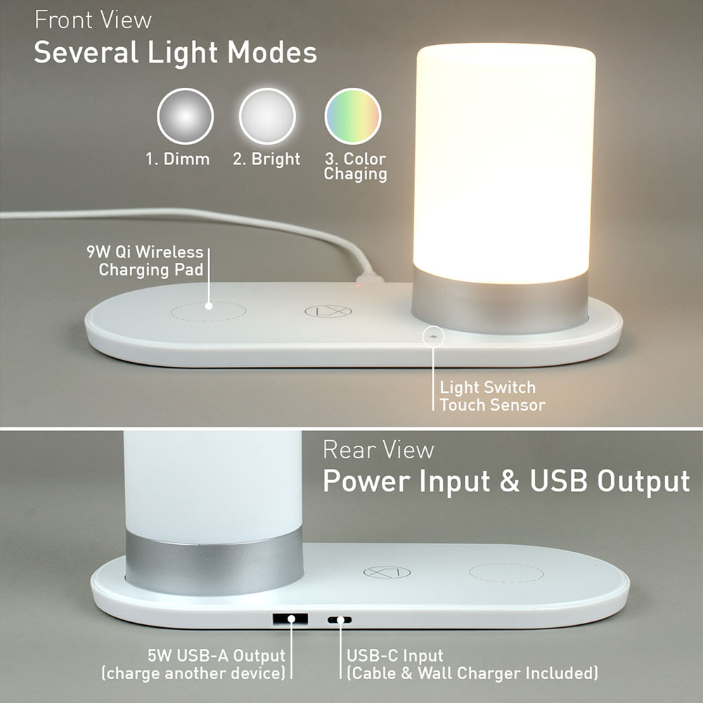 Lxory Shoplxory Bedside Lamp With Qi Wireless Charger And
